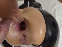 Balls deep anal fucking (Cock and balls in asshole)